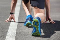Läufer in Anfangsposition Stockfotografie