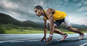 Läufer auf dem Anfang Lizenzfreie Stockfotografie