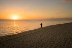 Läufer auf dem Strand bei Sonnenuntergang Stockbilder
