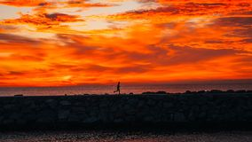 Läufer bei dem Sonnenaufgang, der nahe bei dem Meer läuft lizenzfreies stockbild