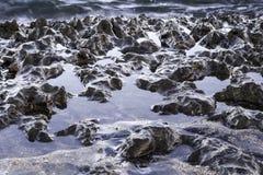Lśnić powulkaniczne skały na plaży zdjęcie royalty free