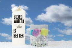 Låda av boxats vattensammanträde bredvid ett exponeringsglas av vatten med iskuber Fotografering för Bildbyråer