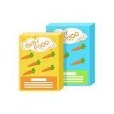 Lådaaskar med den nya moroten Juice Supplemental Baby Food Products som är tillåten för första kompletterande matning av litet royaltyfri illustrationer