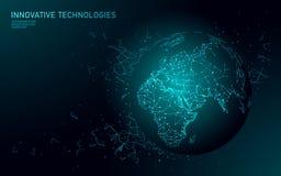 Låg poly anslutning för global affär för planetjord Global online-nätverksvärldskartaEuropa Afrika kontinent internationellt royaltyfri illustrationer