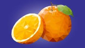 Låg Poly apelsin arkivfoto