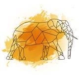 Låg poly elefant på orange vattenfärg Arkivbilder