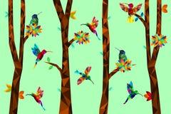 Låg poly färgrik kolibri med trädet på jordfallande sidor tillbaka, fåglar på filialerna, djurt geometriskt begrepp, vektor stock illustrationer