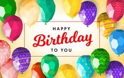 Låg poly för hälsningkort för lycklig födelsedag mall stock illustrationer