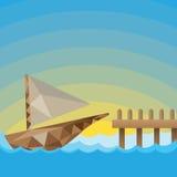 Låg poly fartyghamnbakgrund Arkivbilder