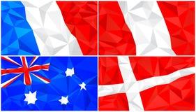 Låg poly flagga, abstrakt polygonal triangulär bakgrundsuppsättning 3 royaltyfri illustrationer
