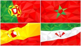 Låg poly flagga, abstrakt polygonal triangulär bakgrundsuppsättning 2 stock illustrationer