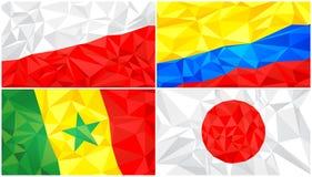 Låg poly flagga, abstrakt polygonal triangulär bakgrundsuppsättning 8 stock illustrationer