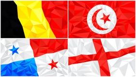 Låg poly flagga, abstrakt polygonal triangulär bakgrundsuppsättning 7 royaltyfri illustrationer