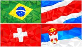 Låg poly flagga, abstrakt polygonal triangulär bakgrundsuppsättning 5 royaltyfri illustrationer