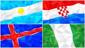 Låg poly flagga, abstrakt polygonal triangulär bakgrundsuppsättning 4 stock illustrationer