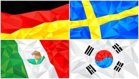 Låg poly flagga, abstrakt polygonal triangulär bakgrundsuppsättning 6 vektor illustrationer