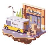 Låg poly leveransskåpbil för vektor stock illustrationer