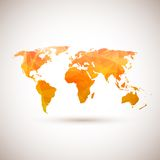 Låg poly orange vektorvärldskarta Arkivbilder