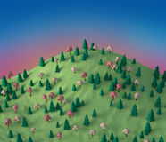 Låg poly skog 3D för fantasi på kulleillustrationen stock illustrationer