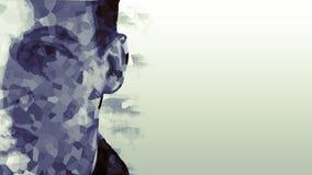 Låg Poly stående av en man Cybernetic futuristiskt begrepp för din design arkivbild