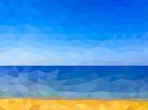 Låg poly strand på havet Arkivbild