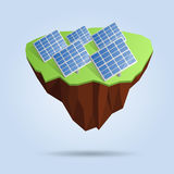 Låg poly sväva ö med solpaneler som isoleras på bakgrunden Polygonal design 3d eller infographic beståndsdel Arkivbilder