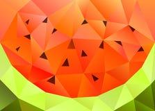 Låg poly vattenmelonbakgrund är den inklusive vektormappen Royaltyfri Bild