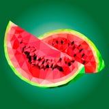 Låg poly vattenmelonillustration Arkivbild