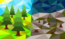 Låg poly vektorillustration för skogsavverkning Royaltyfri Foto