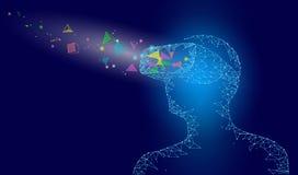 Låg poly virtuell verklighethjälm Framtida innovationteknologifantasi Den förbindelsePolygonal triangeln pricker geometrisk punkt