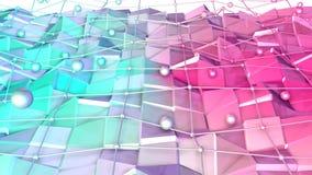 Låg poly yttersida 3D med det flygraster eller ingreppet och rörande sfärer som tekniskt avancerad bakgrund Mjukt geometriskt låg vektor illustrationer