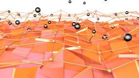 Låg poly yttersida 3D med flygraster- eller ingrepps- och svartsfärer som futuristisk bakgrund Mjukt geometriskt lågt poly vektor illustrationer