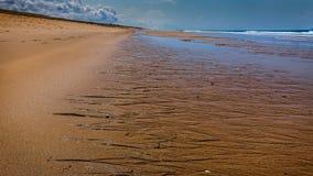 låg sandig tide för strand Royaltyfri Bild
