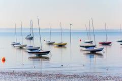 Essex seglar utmed kusten på lowen bevattnar på en sommarmorgon Arkivfoton