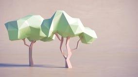 Låg trädbakgrund för polygon 3D Arkivfoto