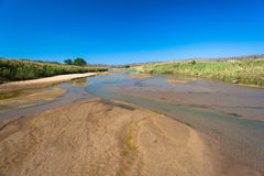 Låga breda grupper för flodvattenSand Fotografering för Bildbyråer