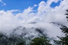 Låga moln på berg Arkivbild