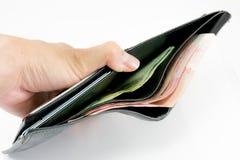 Låga pengar i min plånbok Royaltyfri Bild