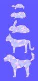 Låga poly husdjur i rosa färg- och blåttfärger Royaltyfria Bilder