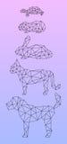 Låga poly husdjur som skisseras med den svarta linjen Fotografering för Bildbyråer