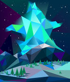 Låga poly nordliga ljus över berg i vinternattvektor Royaltyfri Fotografi