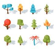 Låga poly symboler för träd, vektor isometrisk 3D vektor illustrationer