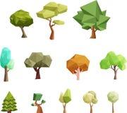 Låga poly träd för lekar vektor illustrationer