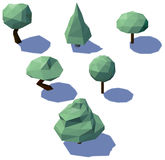 Låga poly träd med skuggor Arkivfoton