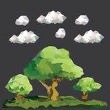 Låga polygonträd för vektor på landskap royaltyfri foto