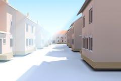 Låghus- byggnader Gator och hus, radhus Royaltyfri Bild
