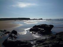 Lågt aftonljus på stranden Royaltyfri Fotografi