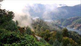 Lågt moln längs dalen stock video