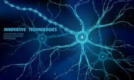 Lågt poly anatomibegrepp för mänsklig neuron Konstgjord beräkning för moln för medicin för vetenskap för teknologi för nerv- nätv stock illustrationer