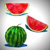 Lågt poly av vattenmelon med den inklusive skuggavektormappen Royaltyfri Fotografi